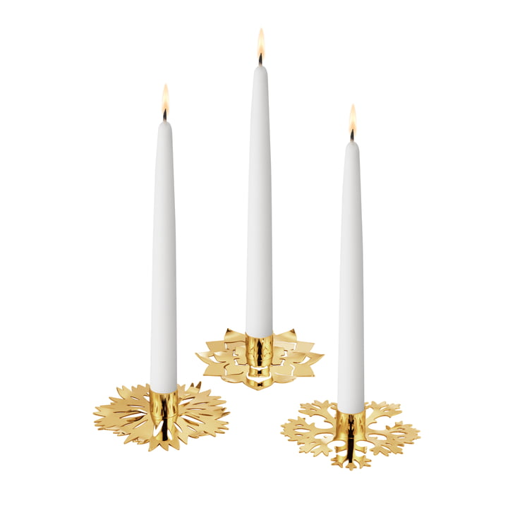 Eisblume candle holder, set of 3, gold by Georg Jensen .