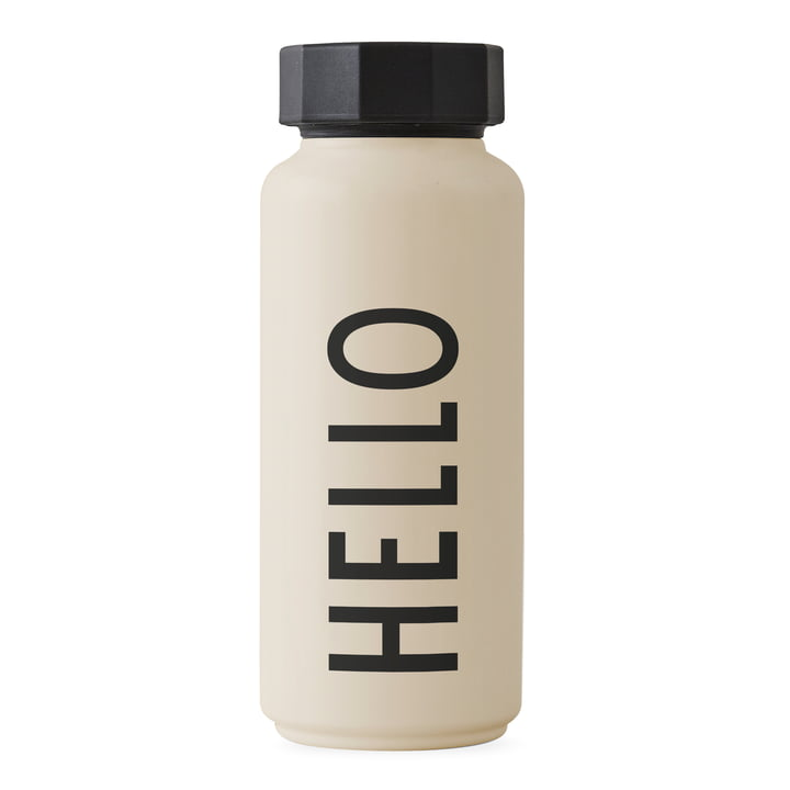 The AJ thermos bottle Hot & Cold 0.5 l, Hello / beige by Design Letters