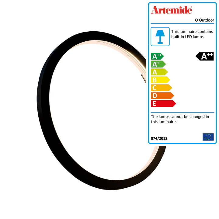 O Outdoor LED wall and ceiling lamp Ø 45 cm, black by Artemide