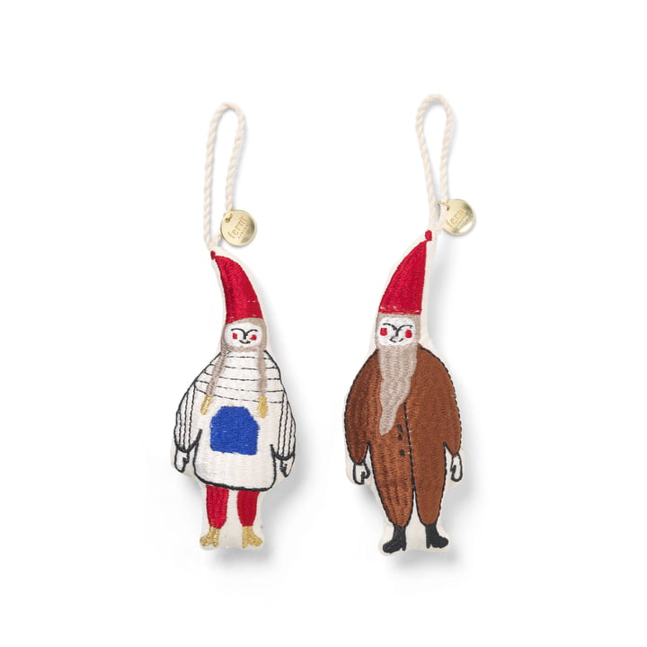 Elf pair of decorative pendants from ferm Living in multicolor (set of 2)