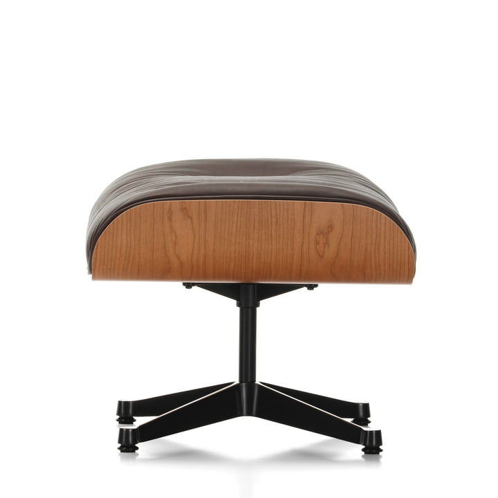 Ottoman by Vitra in the version polished / sides black, cherry tree, leather premium chocolate