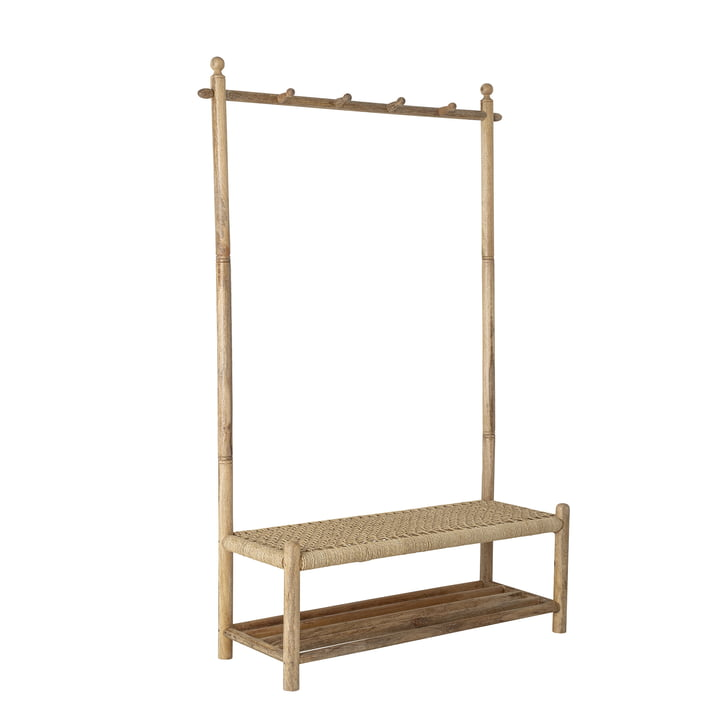 Abel coat rack with bench, cane / natural by Bloomingville