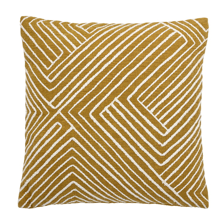 Giana cotton cushion 50 x 50 cm from Bloomingville in yellow / white