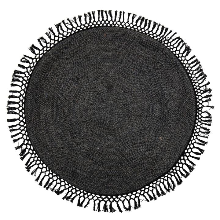 Idakamille jute rug, Ø 122 cm, black from Bloomingville .