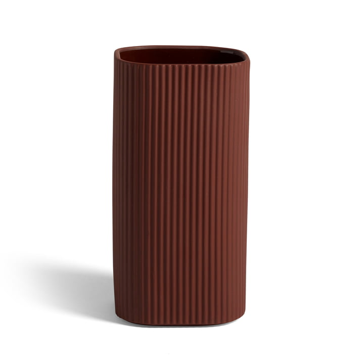 Facade vase H 22 cm, dark terracotta by Hay .