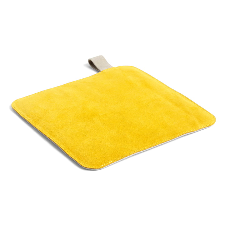 Suede pot holder, 21.5 x 21.5 cm, yellow by Hay .