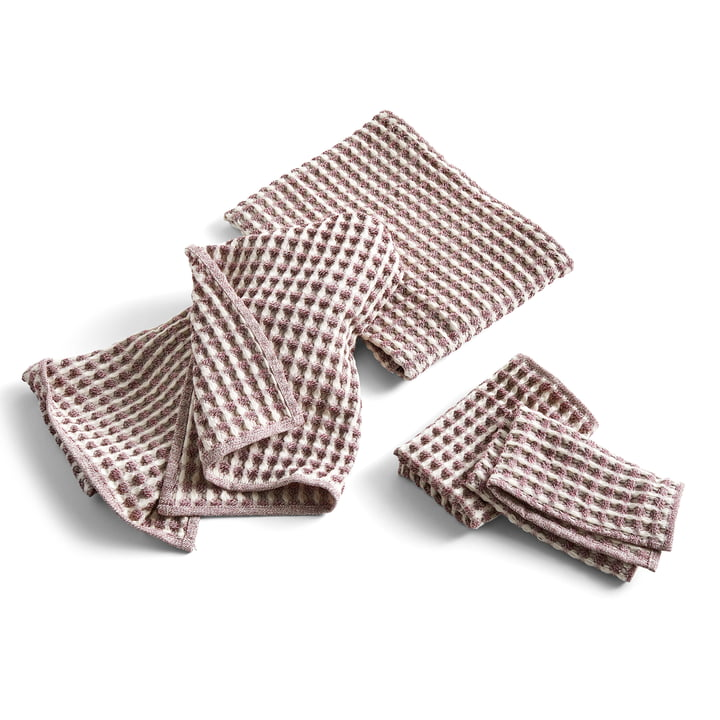 Twist Tea Towel & Towel, Burgundy (Set of 4) by Hay .