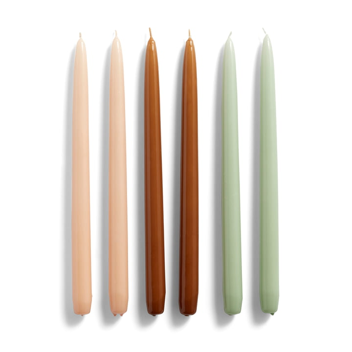Conical candles, H 33 cm, peach / caramel / mint (set of 6) by Hay .