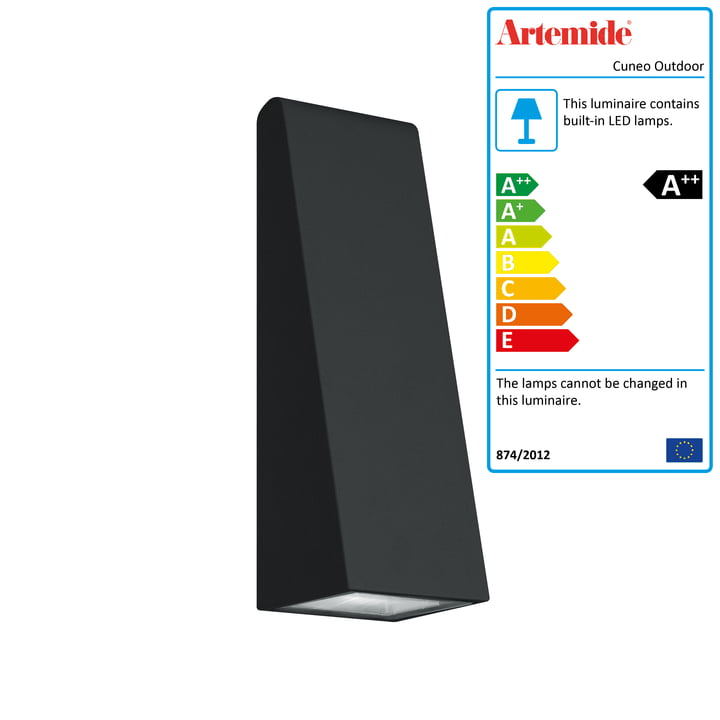 Cuneo Mini Outdoor LED wall light, anthracite gray by Artemide