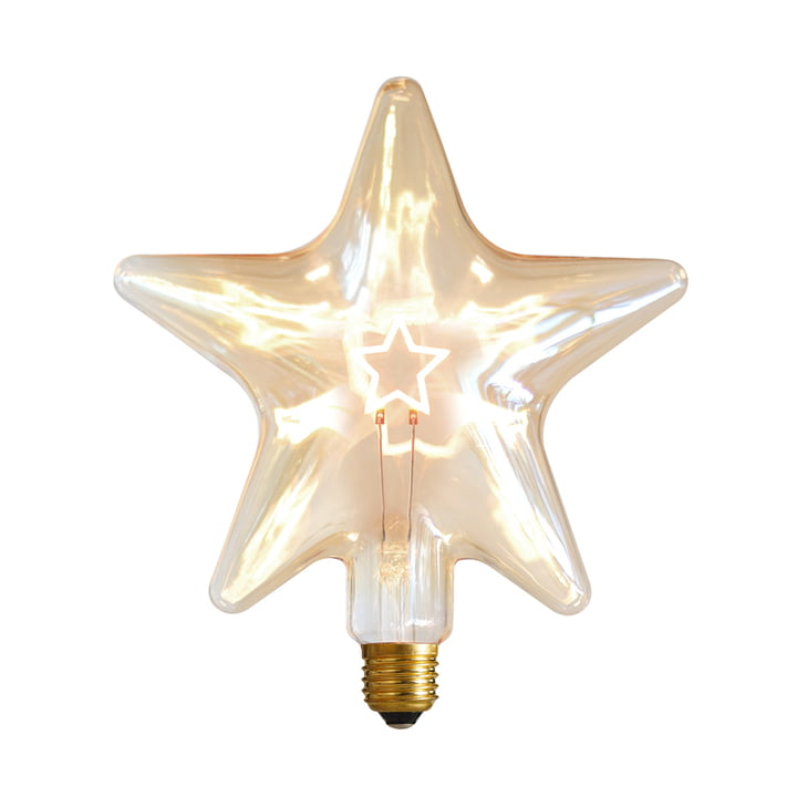 LED Star, E 27 / 0.75 W, gold amber, dimmable by NUD Collection