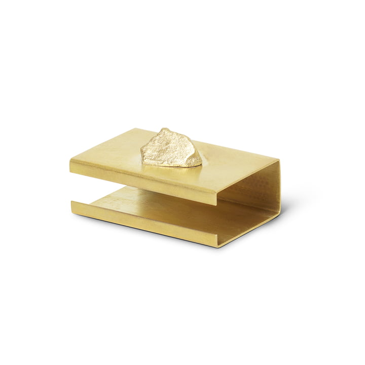 Stone case for matchbox by ferm Living in brass