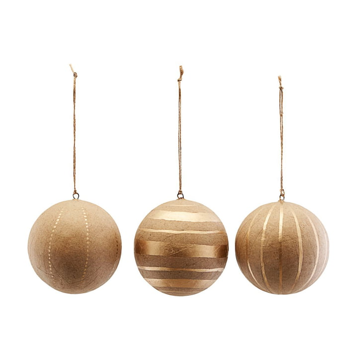 Christmas tree Craft, Ø 10 cm, gold (set of 3) by House Doctor
