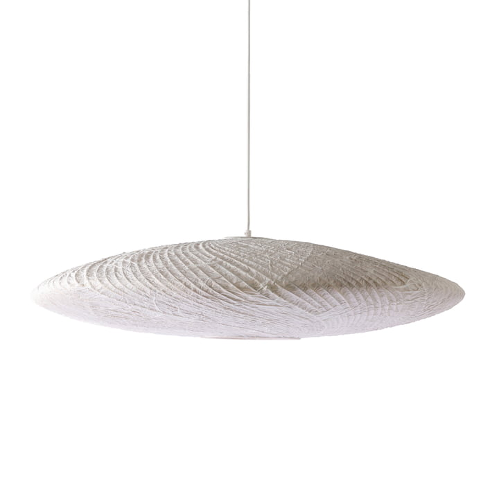 The bamboo / paper pendant lamp Ufo, Ø 82 x H 21cm, white by HKliving