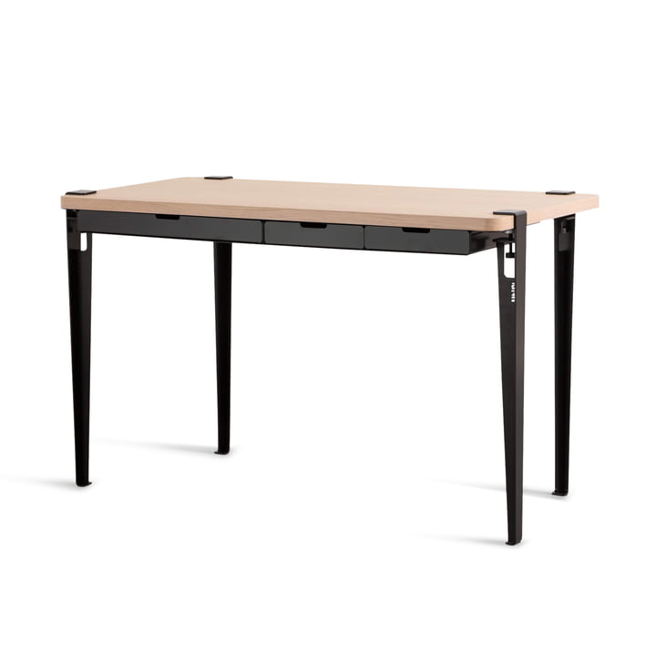 The MONOCHROME desk with drawers, oak / graphite black by TipToe