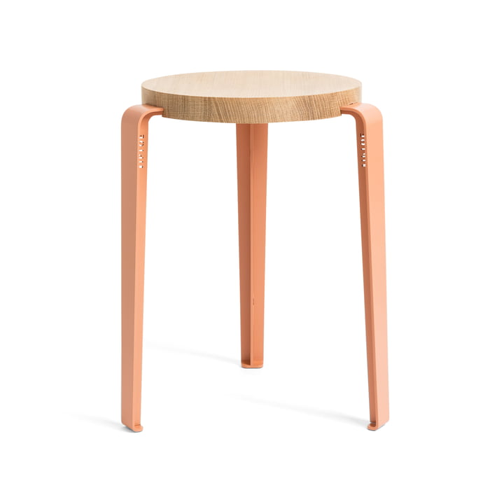 The LOU stool, natural oak / coral pink by TipToe