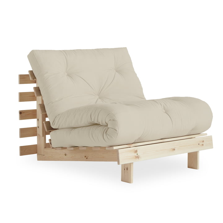 The Roots chair-bed 90 cm, pine nature / beige (747) from Karup Design