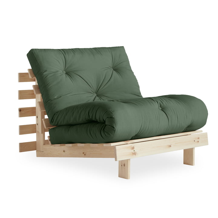 The Roots chair-bed 90 cm, pine nature / olive green (756) from Karup Design