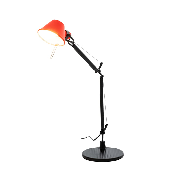 Tolomeo Micro Bicolor table lamp, black / coral red by Artemide