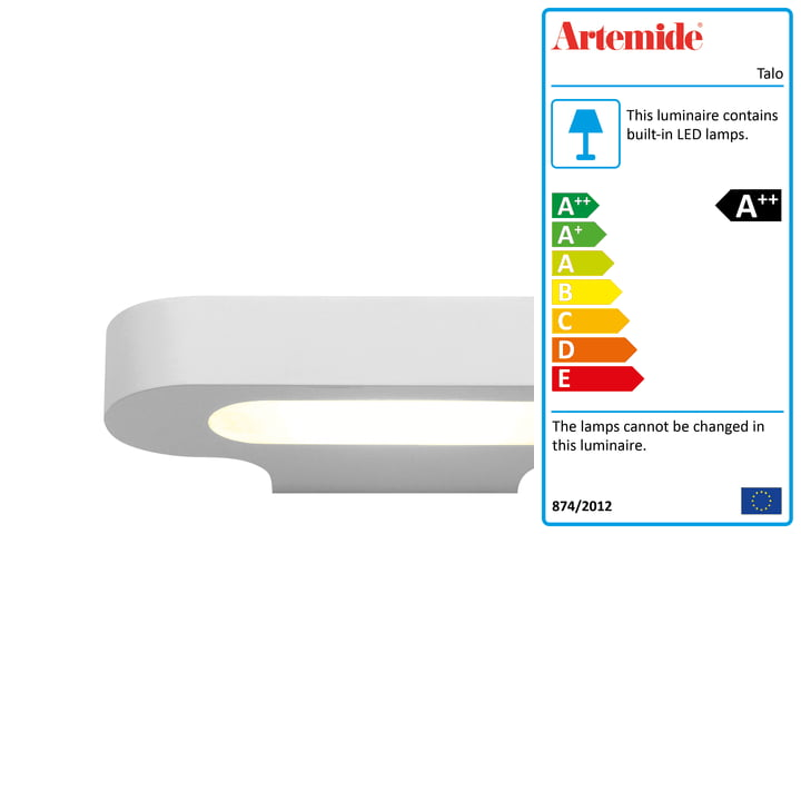 Talo LED wall light, 2700K / white from Artemide