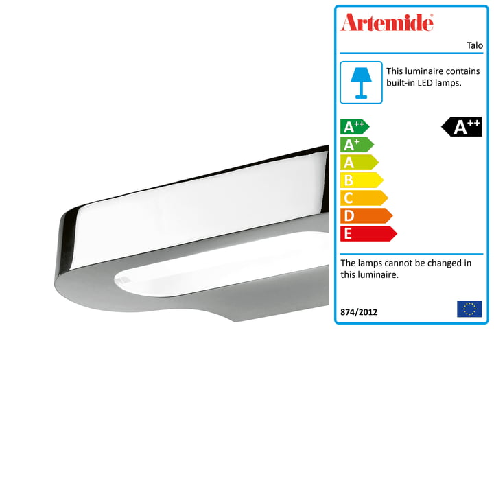 Talo LED wall light, 2700K / glossy chrome by Artemide