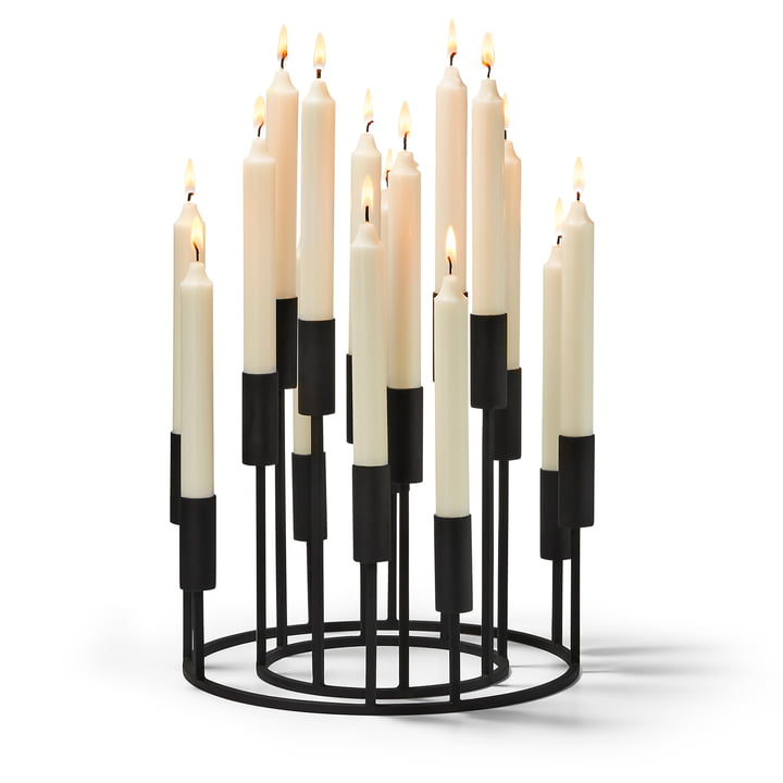 Illuminati candle holder set (2 pieces) by Philippi in black