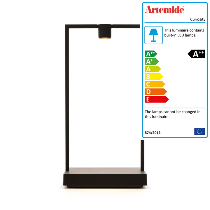 Curiosity battery LED table lamp H 36 cm by Artemide in black / brown