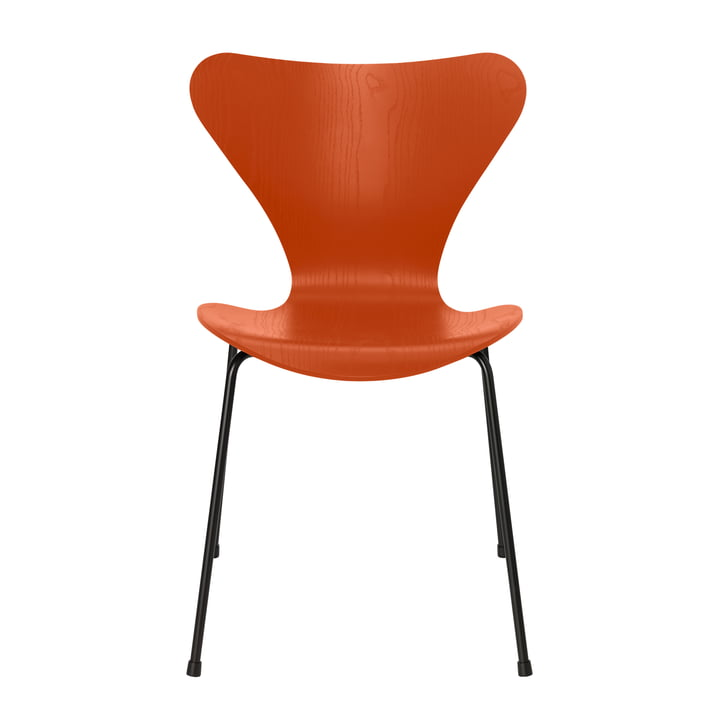 Series 7 chair by Fritz Hansen in ash paradise orange colored / frame black