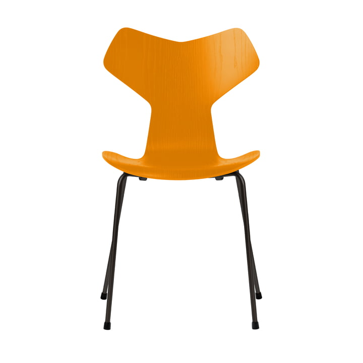Grand Prix chair by Fritz Hansen in burnt yellow colored ash / frame black