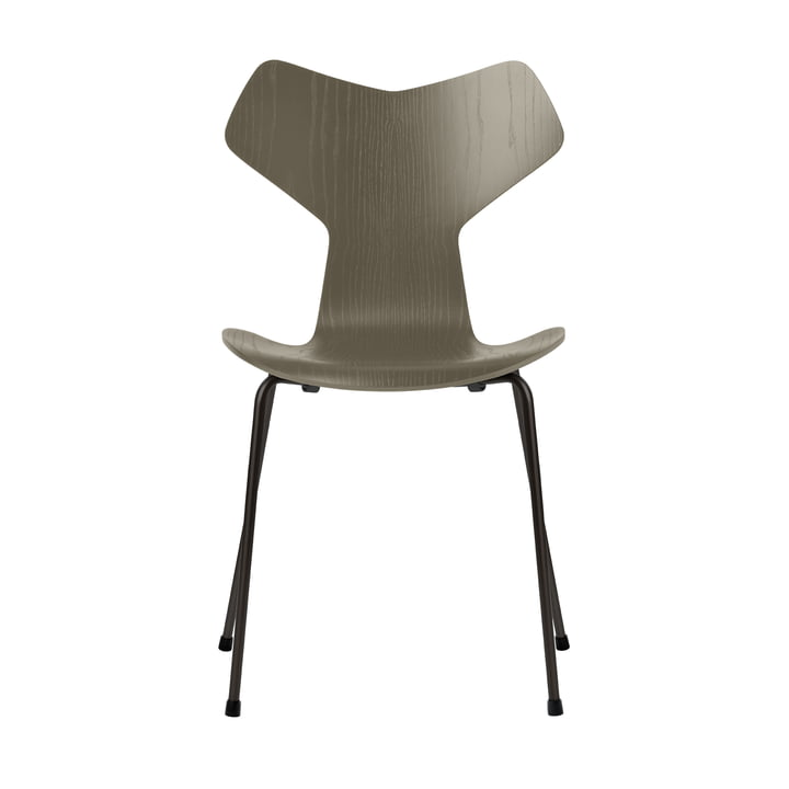 Grand Prix chair by Fritz Hansen in olive green colored ash / frame black