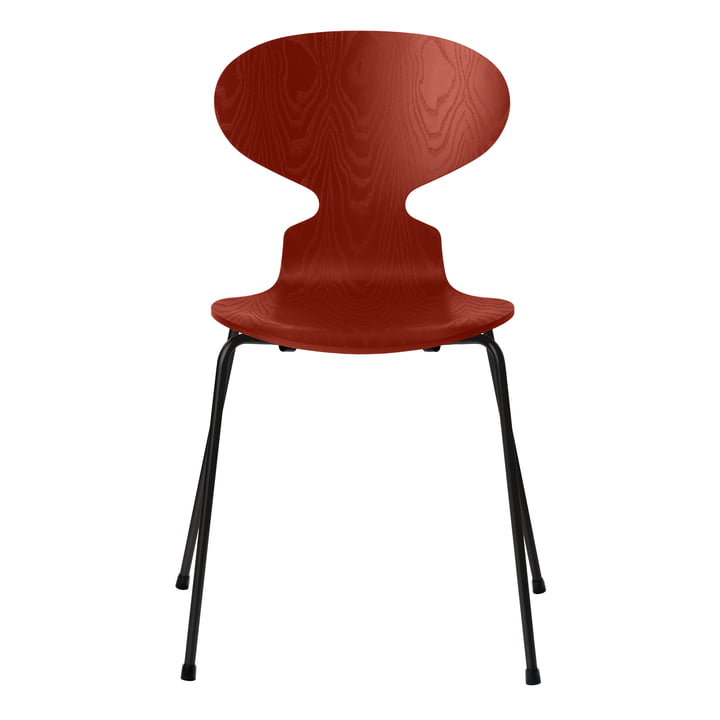 Ant chair by Fritz Hansen in venetian red colored ash / frame black