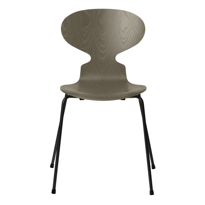 Ant chair by Fritz Hansen in olive green colored ash / frame black