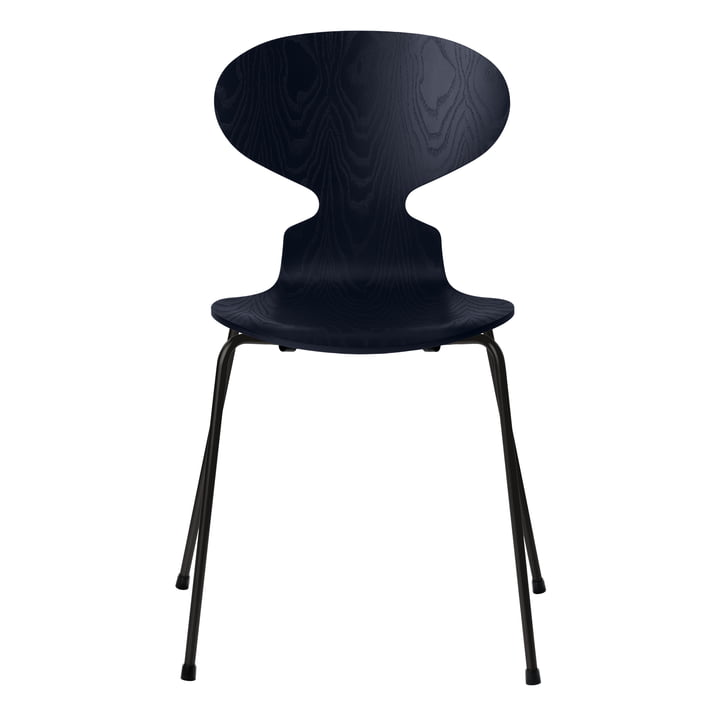 Ant chair by Fritz Hansen in ash colored midnight blue / frame black