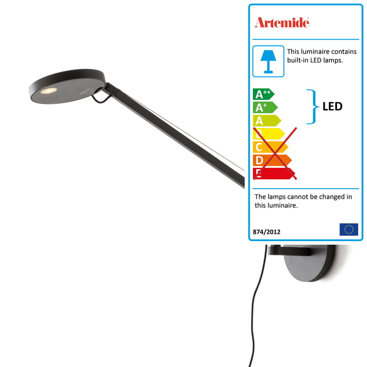 Demetra Micro LED wall light by Artemide in anthracite
