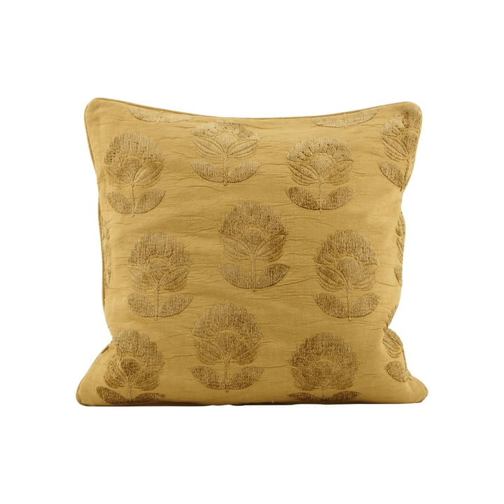 Cushion cover Velv 50 x 50 cm, flower pattern / mustard yellow by House Doctor