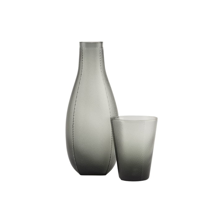 Milo carafe and glass, smoke gray (set of 2) by House Doctor