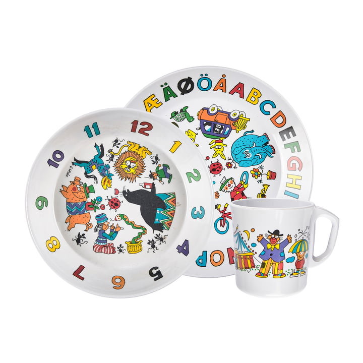 The children's tableware set circus, white (3-piece) from Rosti