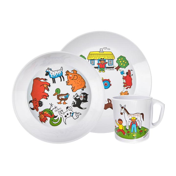 The children's tableware set farm, white (3-piece) from Rosti