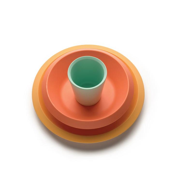 The Giro Kids children's tableware S1, yellow / orange / green (3 pcs.) from Alessi