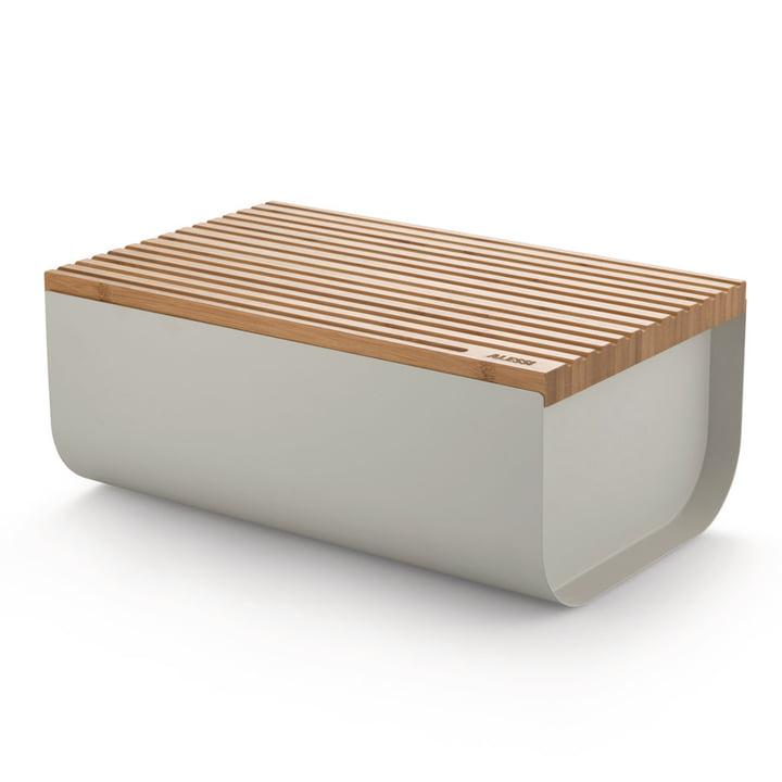 The Mattina bread box with cutting board, bamboo / grey by Alessi