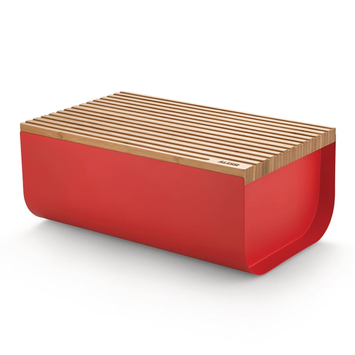 The Mattina bread box with cutting board, bamboo / red by Alessi