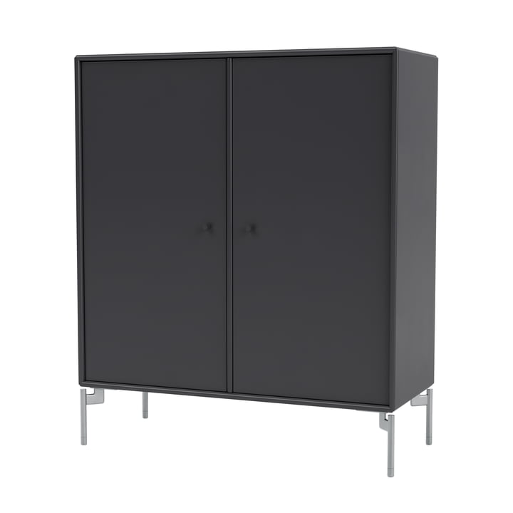 The Cover cabinet with legs, zinc matt chrome-plated / anthracite by Montana