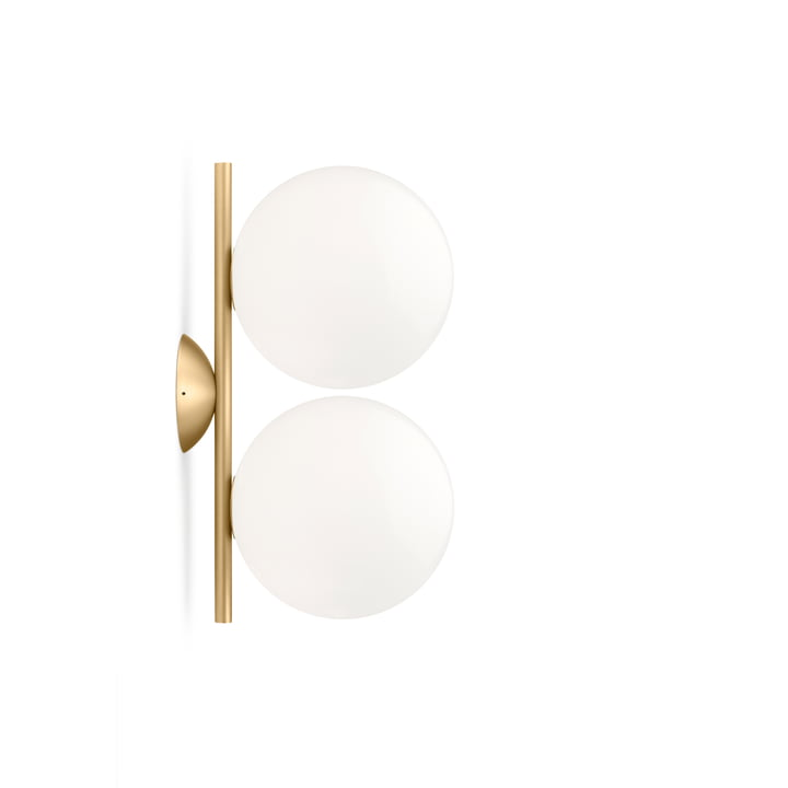 IC C / W1 DOUBLE wall and ceiling lamp, brass by Flos