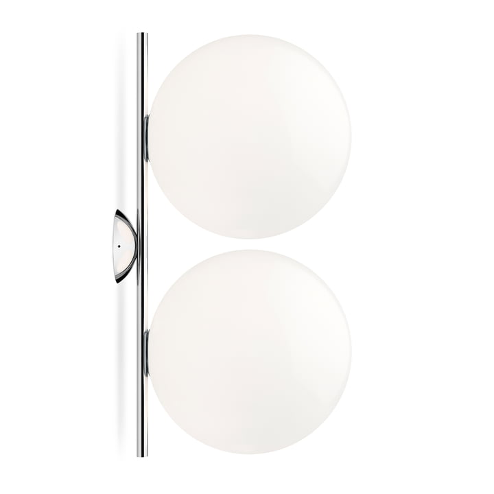 IC C / W2 DOUBLE wall and ceiling lamp, chrome by Flos