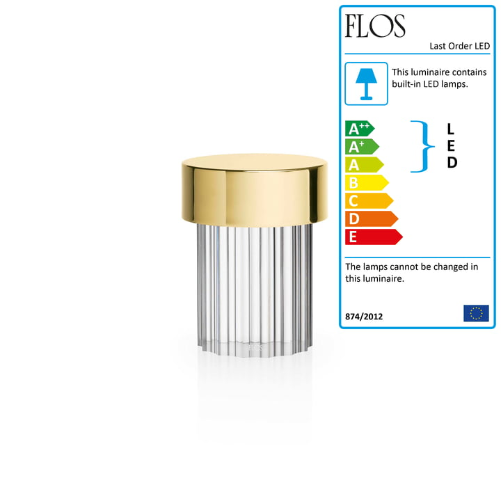 Last Order LED table lamp, brass / fluted by Flos