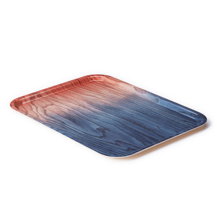 A Tribute to Wood Tray large, blue / red from applicata
