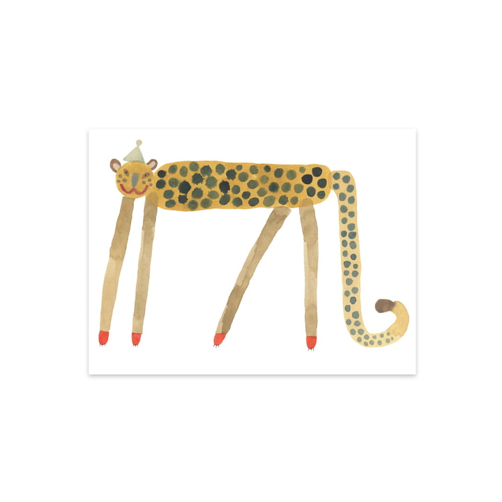 Children poster with animals, Smiling Leopard Elvis, 40 x 30 cm by OYOY