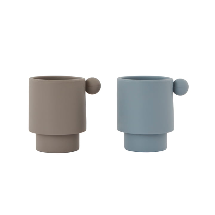 The Tiny Inka silicone cups, Dusty Blue / Clay (set of 2) from OYOY
