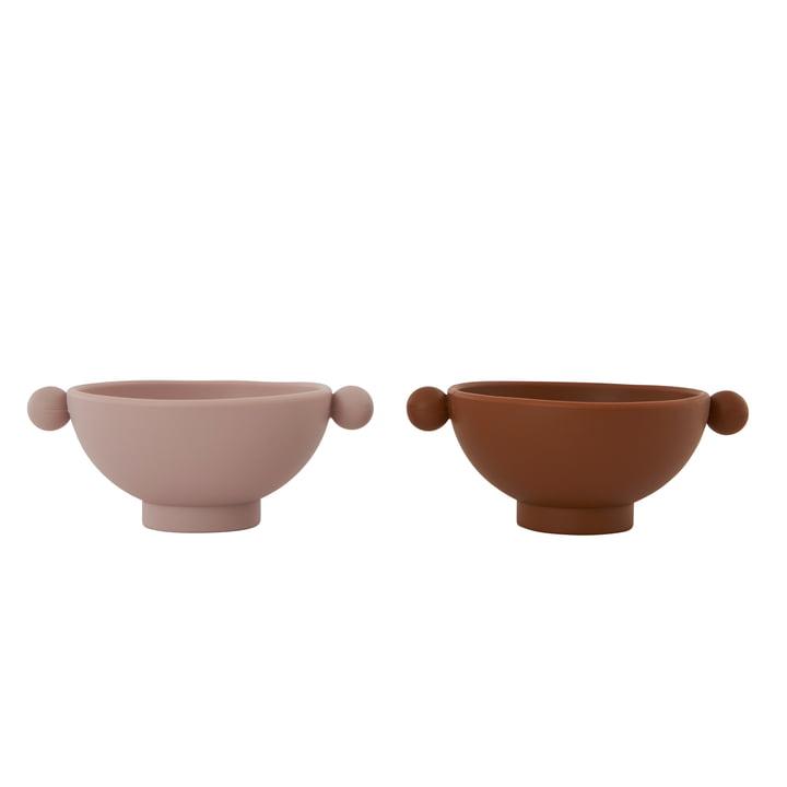 The Tiny Inka silicone bowl, caramel / rose (set of 2) from OYOY