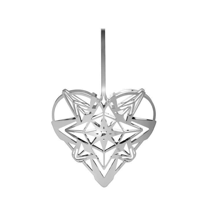The Karen Blixens Christmas heart, H 12,8 cm, silver by Rosendahl