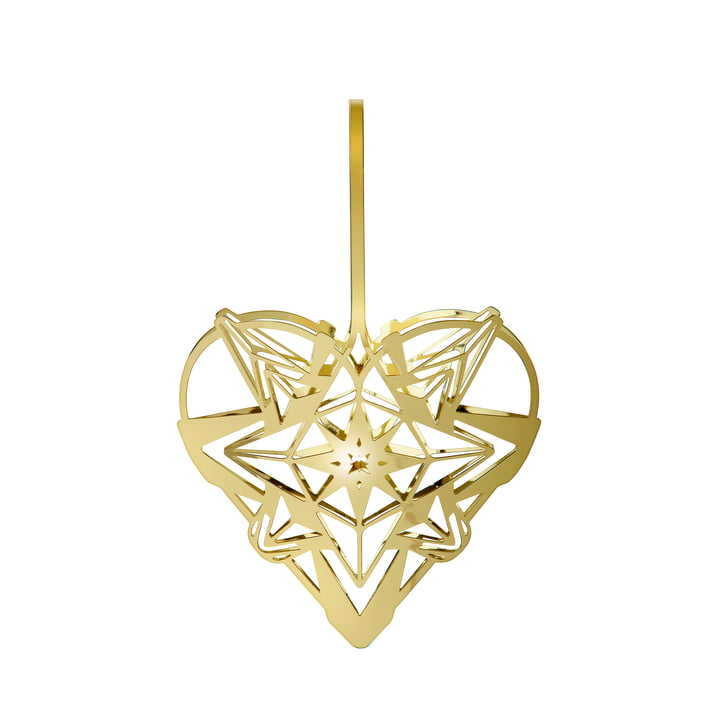 The Karen Blixens Christmas heart, h 12,8 cm, gold by Rosendahl